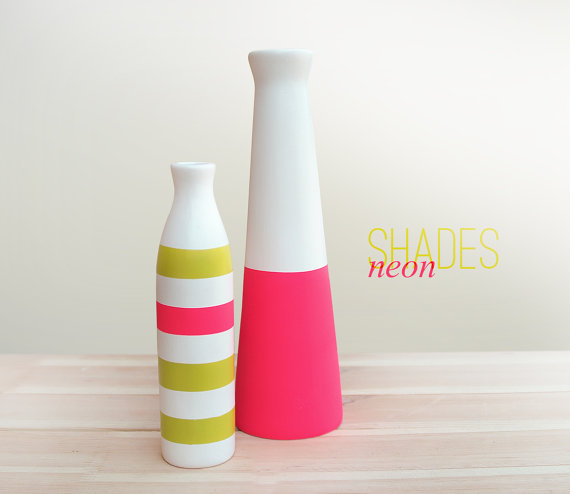 Neon Style Ceramic Vases (Set of 2)